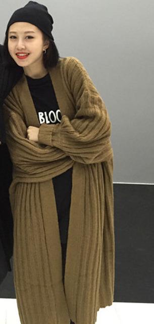 [XITAO] 2016 de Otoño de Moda de Hong Kong Viento Yardas Grandes Flojas Completo y Linterna Mangas de Punto Cálido Suéter de la Rebeca Femenina, CMA-002
