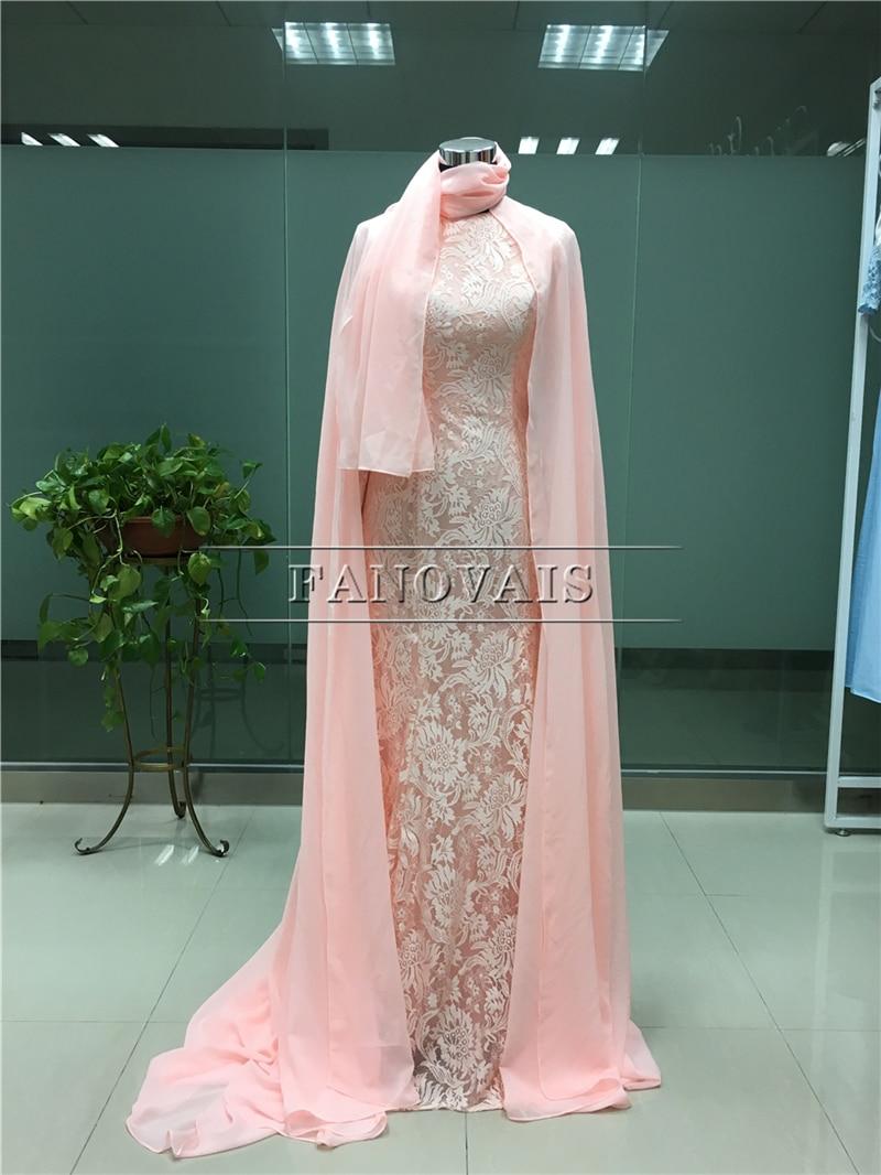 Real Photo Elegant Dubai Muslim Aftonklänningar Lång Ärmar Lace - Särskilda tillfällen klänningar - Foto 3