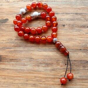 Image 1 - New Handmade 10mm Natural stone beads 33 Prayer Beads Islamic Muslim Tasbih Allah Mohammed Rosary for women men Bead Jewelry