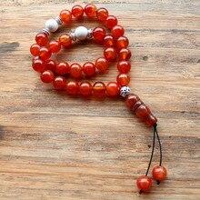 Nouveau fait à la main 10mm perles de pierre naturelle 33 perles de prière islamique musulman Tasbih Allah Mohammed chapelet pour femmes hommes perle bijoux