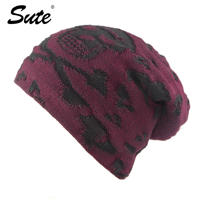 sute Knitted Hat Skullies Beanies Men Winter Hats For Men Women Bonnet Fashion Caps Warm Baggy Soft Brand Cap Plain Beanie Mens 2017 new lace beanies hats for women skullies baggy cap autumn winter russia designer skullies