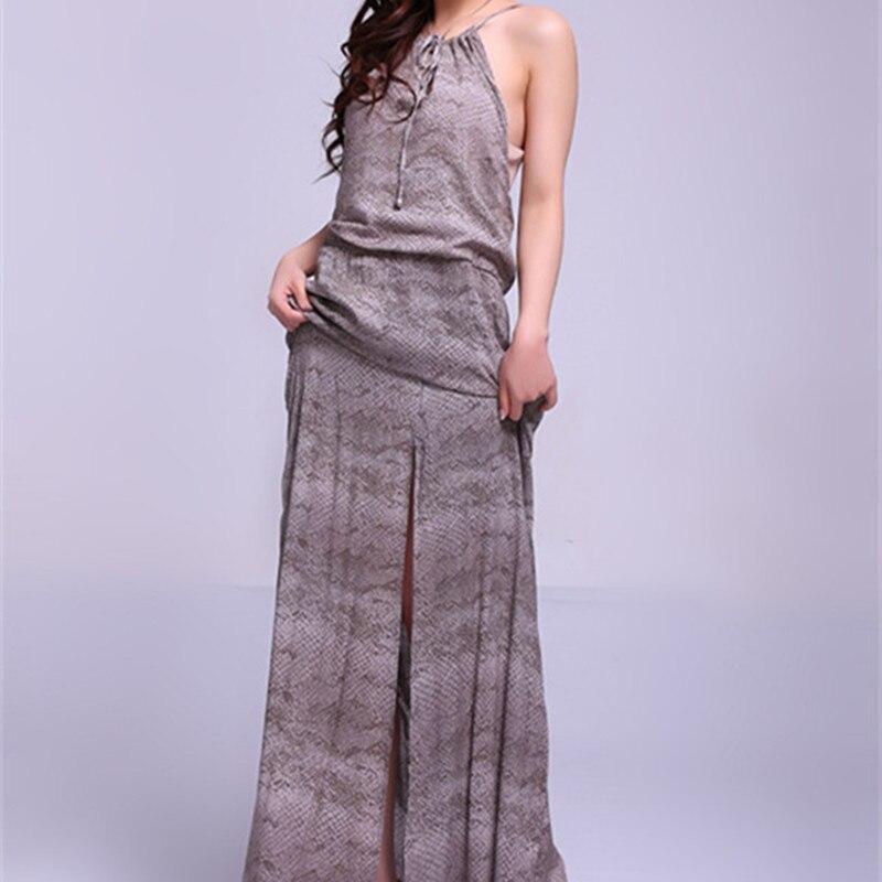 Vintage Fashion National Trend Print O Neck Slim Long Skirt Design Expansion Medium Long Bottom One