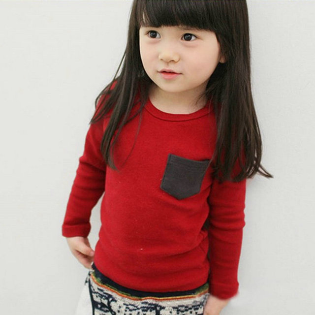 Autumn Toddler Baby T-shirt For Kids Girls Long Sleeve Tee Tops Soft Solid Kids Boys Tees Candy Color Baby Girls Cotton T-Shirts 1