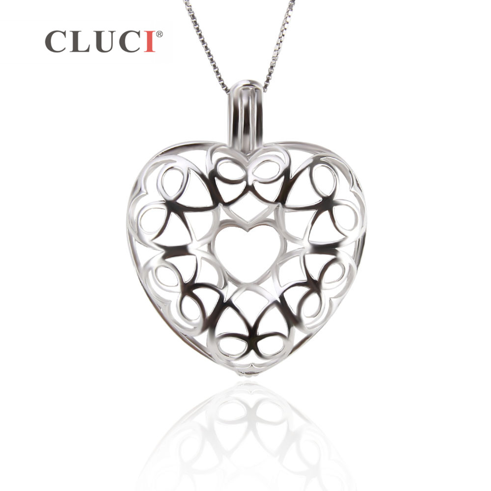 CLUCI 3PCS Big Hollow Heart Cage Pendant to hold 8 pearls 925 sterling silver Necklace Accessaries bowknot charms romantic style