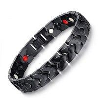 Moderne Strakke Armband voor Mannen Zwart Rvs Bangle Magneten Gezondheid Luxe Sieraden Polsband Link Chain Vriendschap Cadeaus