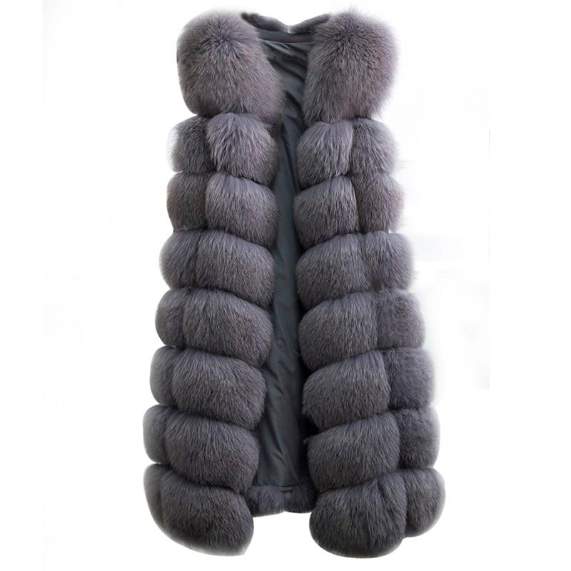 90 см Натуральный Реальный лисий мех жилет Новый 2018 зима длинный толстый Для женщин из натурального меха жилет куртка карманы с натуральным ...