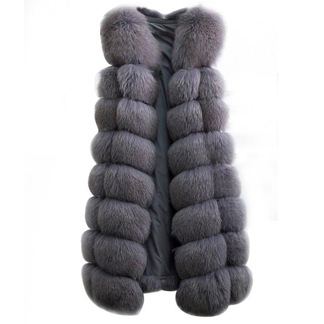 90CM Natural Real Fox Fur Vest New 2018 Winter Long Thick Women Genuine Fur Vest Jacket Pockets Real Fur Vest Coats for Women