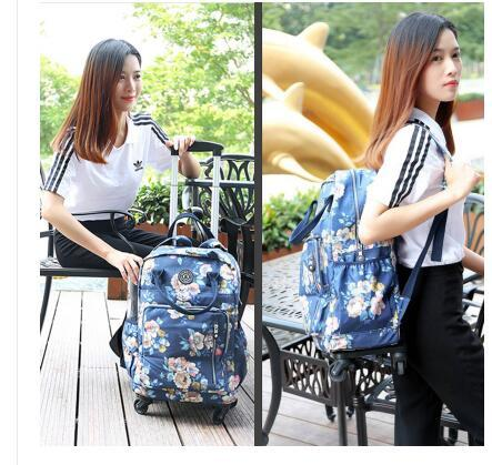 Travel Luggage Trolley Backpacks Bags On Wheels Women Business Travel Trolley Bags Oxford Rolling Wheeled Luggage Backpack Bag