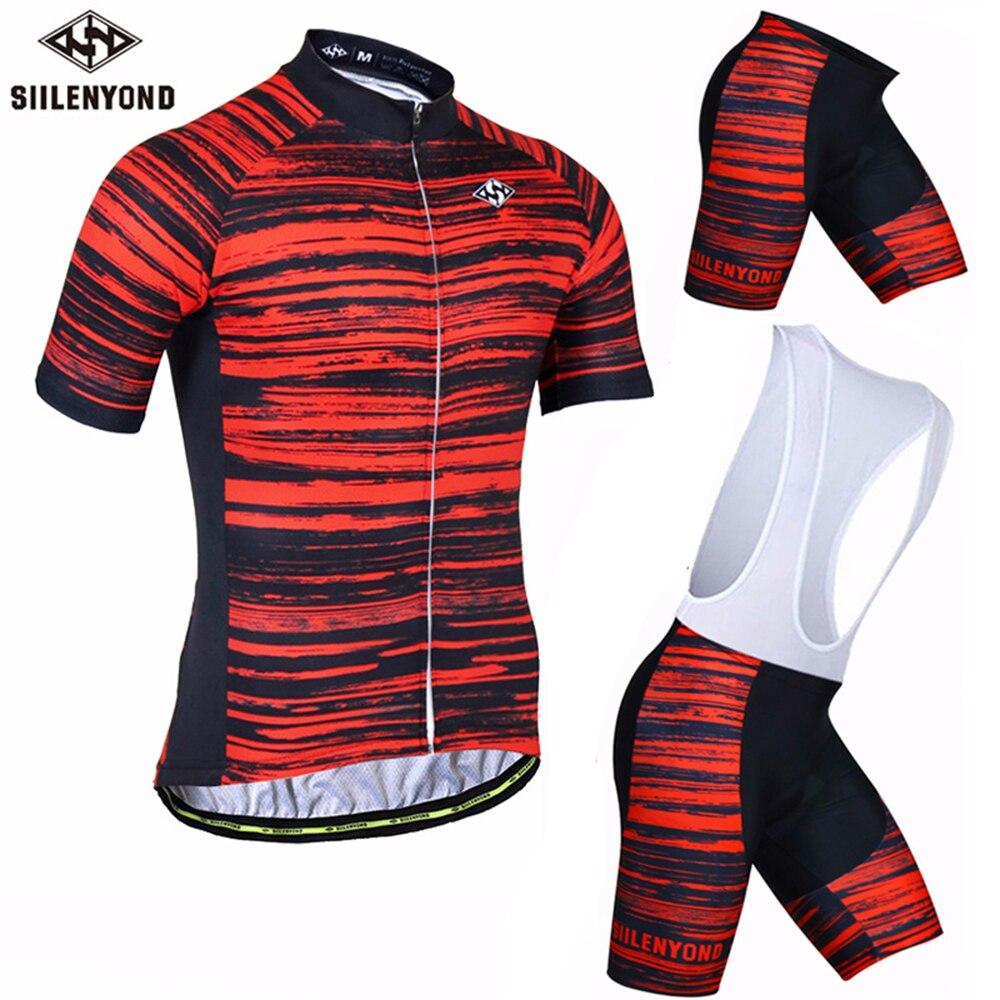 SIILENYOND 2018 Summer Short Sleeve Cycling Set Men Mountain Bike Clothing Quick Dry Anti Sweat Bicycle Jersey Bib Pants Sets