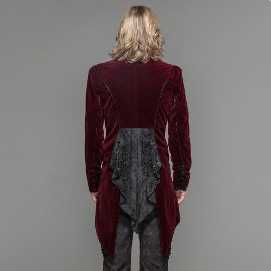 Дьявол Мода готическое мужское платье куртка стимпанк Черный Красный одной кнопки пальто ласточкин хвост Вечеринка ласточкин хвост пальто - 6