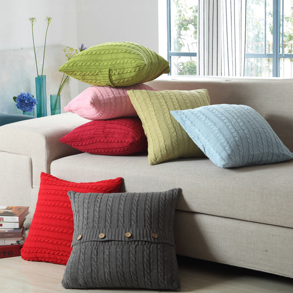Marvelous Small Pillows For Sofa Part - 5: 1xEuropean Vintage Cushion Cover 100% Cotton Home Sofa Knitted Cushion Case  Small Twist Button Decor ...