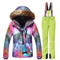 GSOU SNOW Women Ski Suit Hooded Waterproof Mountain Skiing Suit Snowboard Ski Jacket Pants Set Winter Outdoor Sports Clothing