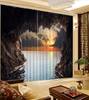3D Curtain Custom 3D Beautiful Sunset Cave Sea View Curtains For Bedroom 3D Bathroom Shower Curtain 3D Photo Window Curtain