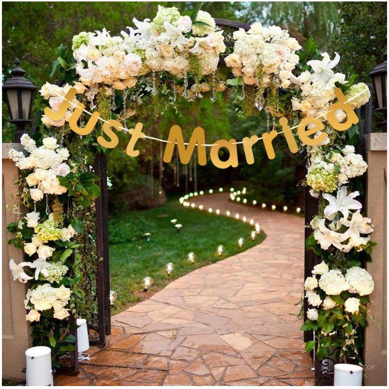 Just married wedding banners vintage wedding decorative for Decoration 11 letters