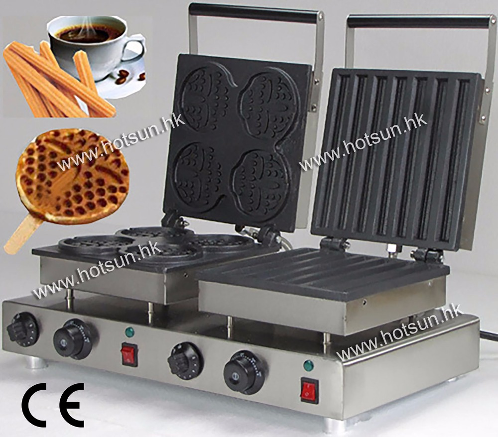 Free Shipping Doulbe-Head 110v Electric Churros & Smile Waffeleisen Waffle Maker Machine Baker