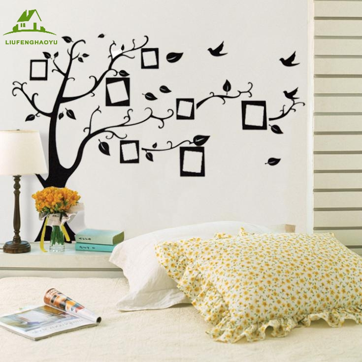 Marco de la foto negro árbol etiquetas de la pared decoración de la casa salón s
