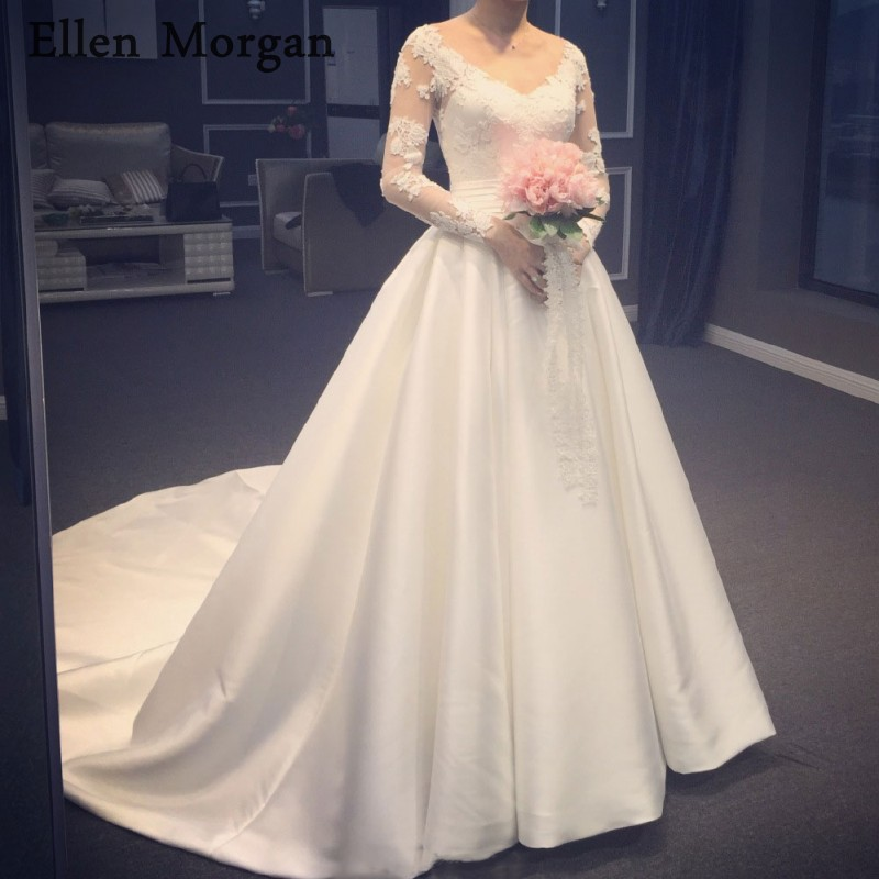 Long Sleeves Lace Wedding Dresses 2019 V Neck Court Train