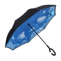 Céu nuvem dobrável reverso guarda-chuva dupla camada invertido à prova de vento chuva guarda-chuvas para carro feminino