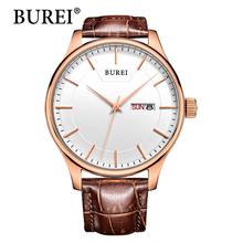 Real BUREI Men Watch Day And Date Display Male Clock New Big Dial White Lens Black Leather Strap Quartz Wristwatch Hot Sale