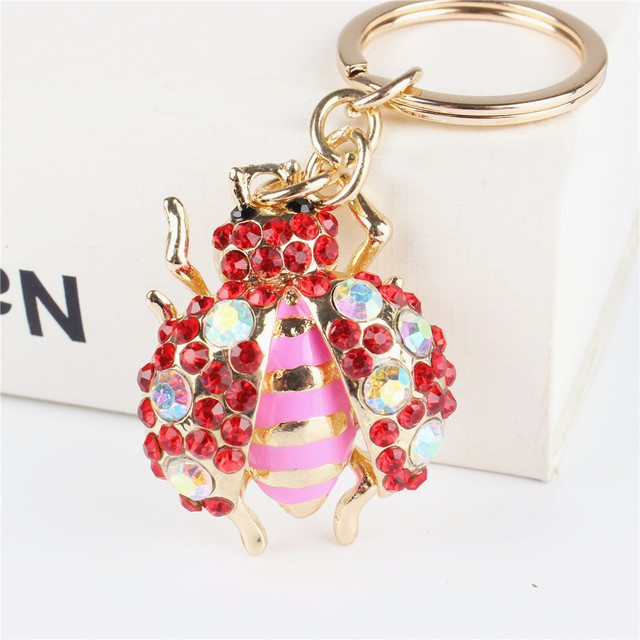 Red Beatle Insect Pendant Charm Rhinestone Crystal Purse Bag Keyring Key  Chain Accessories Wedding Party Holder Keyfob Gift 2b0e7f9a4