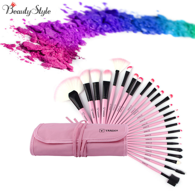 VANDER 24Pcs Makeup Brushes Set Oval Beauty Stylish Cosmetics Eyebrow  Shadow Powder Pincel Make Up Maquiagem Tools + Pouch Bag 99f85980bad76