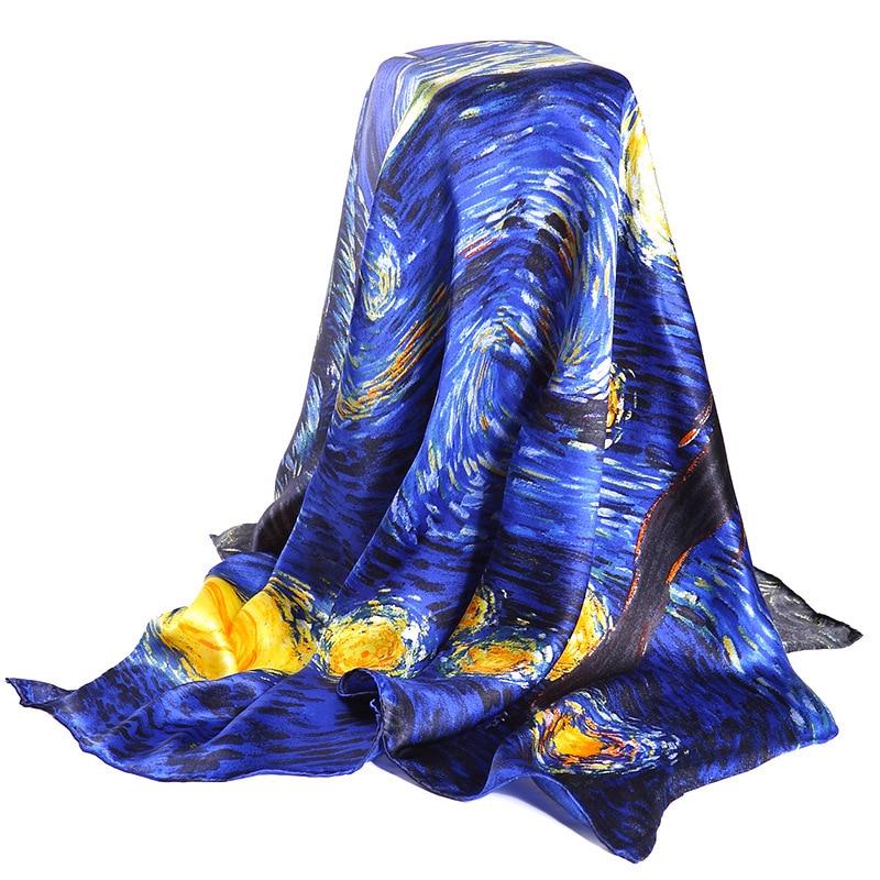 Blu scuro 100% Reale Sciarpa Di Seta Per Le Signore Del Progettista di Marca sciarpe Primavera Autunno Van Gogh della Pittura A Olio Piazza Sciarpe Wraps 90*90 cm