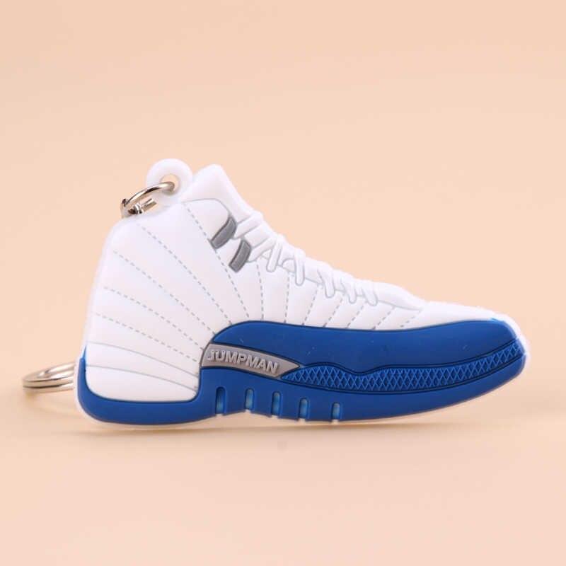 Novo mini jordan 12 chaveiro sapato masculino wome crianças chaveiro presente basquete tênis chaveiro porta-chaves titular porte clef