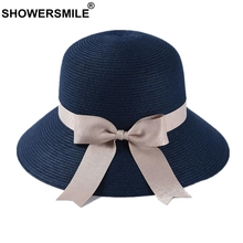 SHOWERSMILE Navy Womens Sun Hats 2019 Summer Beach Straw Ladies Bowknot Wide Brim Brand Uv Foldable For Women