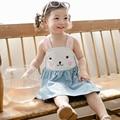 2016 летом новорожденных девочек одежда детская одежда плечо милый rubbit bebe платье Кролик милые комбинезоны детские детские князья платья