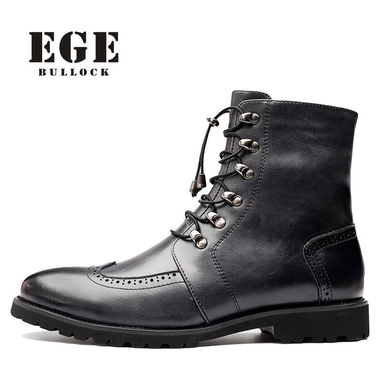 EGE Brand Fashion New Style Winter Warm Boots For Men Retro Genuine Leather High Quality Black Lace-Up British Men Boots italian style fashion men s jeans shorts high quality vintage retro designer classical short ripped jeans brand denim shorts men