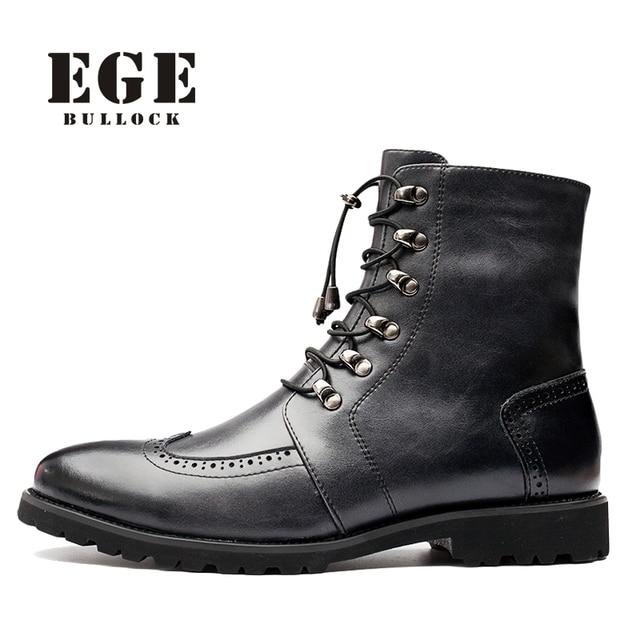 Ege Merek Fashion Baru Musim Dingin Hangat Sepatu untuk Pria Retro Kulit  Asli Kualitas Tinggi Hitam 6010d9f422