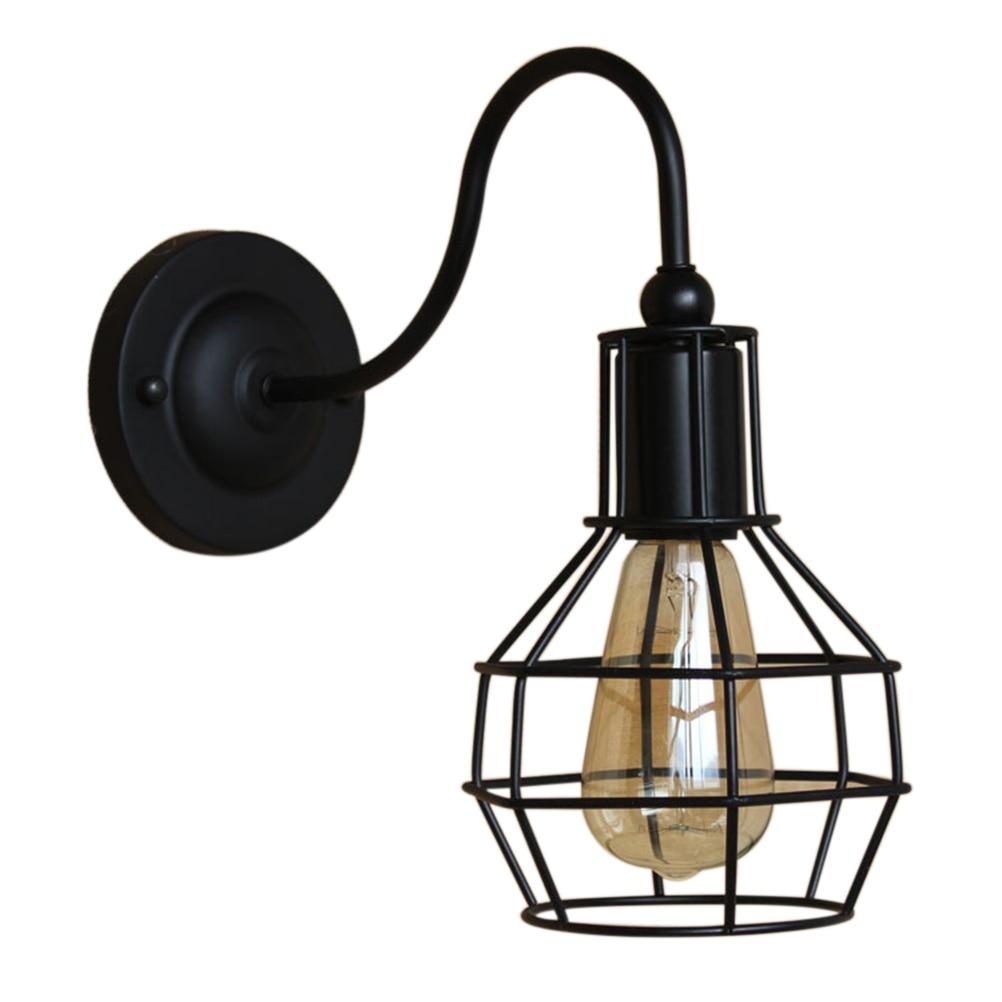 ФОТО 110V-120V Vintage Style Retro Industrial Cage Wall Light Lamp (Black)