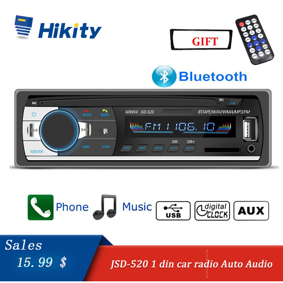 Hikity car radio 1 din Autoradio Bluetooth Aux Input SD USB JSD-520 Auto Audio Stereo MP3 Coche Receiver Car Multimedia Player image