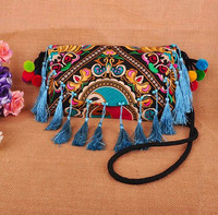 New Arrival Hmong Embroidery Cover Small Bags Vintage Fashion Woman Messenger Shoulder Bags Handmade Tassel Bags