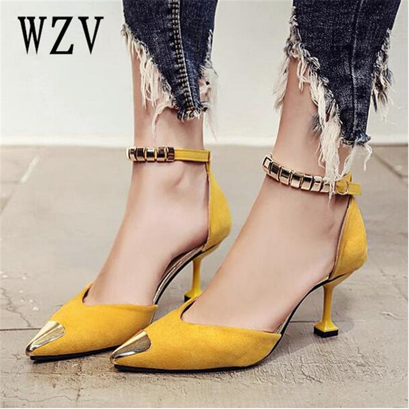 2018 Spring Autumn Women Pumps Sexy buckles High Heels Shoes Fashion metal Pointed Toe Wedding Shoes Party Women Shoes B205 стоимость
