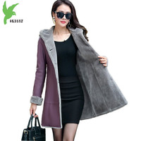 Boutique Women Winter Leather Jacket Fur Together Coats Medium Length Hooded Trench Plus Size Thicker Leather