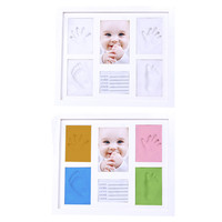 Diy Kid Photo Frame Footprint Handprint Imprint Cast Gift Set Picture With Soft Clay Household Decor