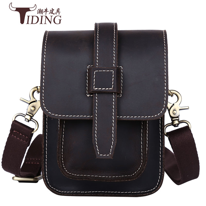 men shoulder bags cow leather 2017  business man casual vintage small flap waist bags real leather man crossbody bags mini