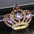 Decoração de jóias para a noiva de cristal broches mulheres jóias presente Moda banhado a ouro crown pinos Broche de casamento romântico do vintage