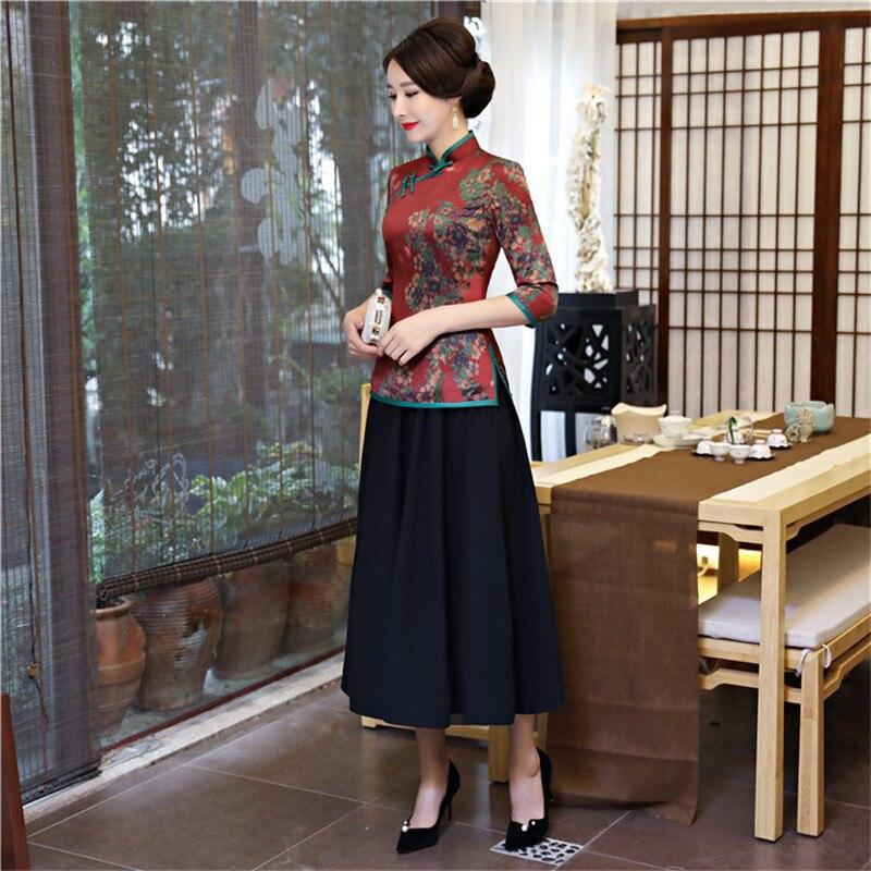Chinois femmes Vintage imprimé fleur Slim chemise Satin Sexy à la main bouton Blouse 2019 nouveau élégant Tang closlim grande taille 4XL - 5