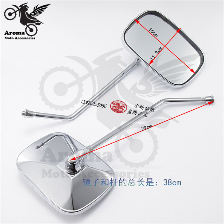 chrome motorcycle rearview mirror for yamaha moto Backup mirror suzuki kawasaki parts universal 8mm 10mm screw motocross ATV