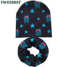 New Autumn Winter Children Beanies Hat Set Star Cat Flower Baby Girls Cotton Cap for Boys Kids Scarf Collar