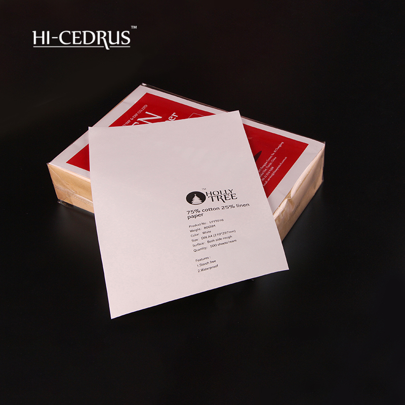 80 gsm 75% cotton 25% linen security paper a4 210*297mm ,white color (LYYT016) school supplier stationery