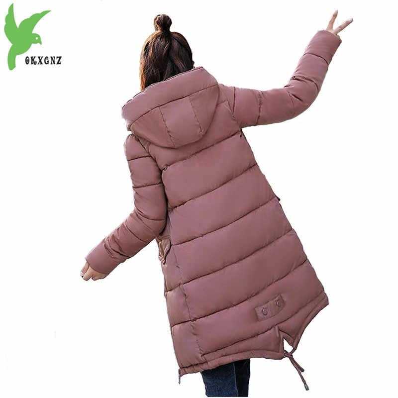 Студенческая хлопковая стеганая куртка зимние парки 2018 Новое Женское пальто с капюшоном плюс размер толстый теплый Топ Тонкий Девушка Длинные парки OKXGNZ2001
