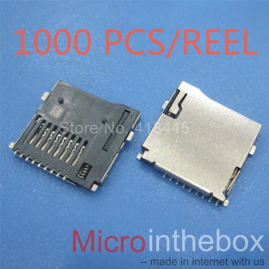 1000pcs Reel TF card connector reader Push and lock Type SMD Micro SD Card Socket mobile
