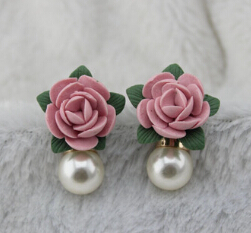 Модный бренд, винтажные серьги-капли, ювелирные изделия в стиле барокко, европейский стиль, розовая Цветочная ветка, висячие серьги для женщин с солнцезащитными очками - Окраска металла: Flower