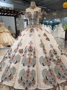 Image 2 - 2018 نمط جديد العروس كلمة واحدة الكتف الكورية الذاتي زراعة رقيقة موجزة طويلة خياطة اللون فستان الزفاف فستان كامل 2411