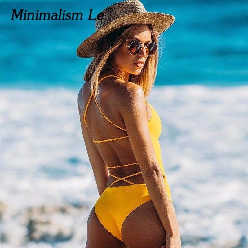 Minimalismus Le Einem Stück Kreuz Bandage Badeanzug Solide Bademode Frauen Backless Sexy Sommer Badeanzug Maillot Bikini