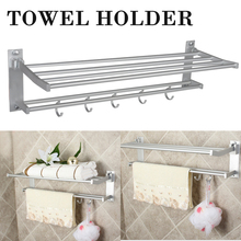 Dual Layers Aluminum Towel Rack Shelf 58cm Wall Mounted Bathroom Towel Rail Holder with Hooks For Home Accessories