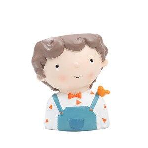 Image 2 - חמוד Cartoon ילד מיכל לבית גן משרד שולחן העבודה קישוט אפוטרופוס עבור פרח עציץ עסיסי יכול